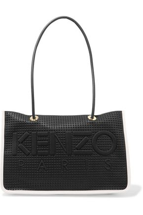KENZO Embossed neoprene-paneled perforated leather tote