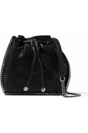 STELLA McCARTNEY Chain-trimmed faux brushed-leather bucket bag