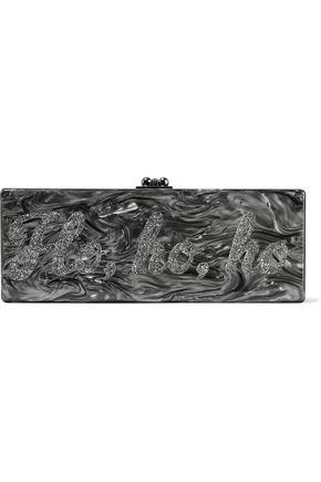 EDIE PARKER Flavia Ho Ho Ho glittered marble-effect acrylic box clutch