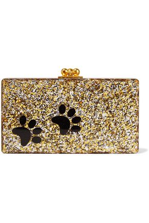 EDIE PARKER Jean Paws glittered acrylic box clutch