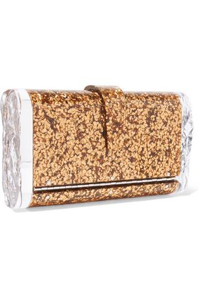 EDIE PARKER Lara Solid glittered acrylic clutch
