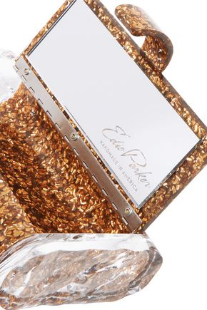 EDIE PARKER Lara Solid glittered acrylic clutch