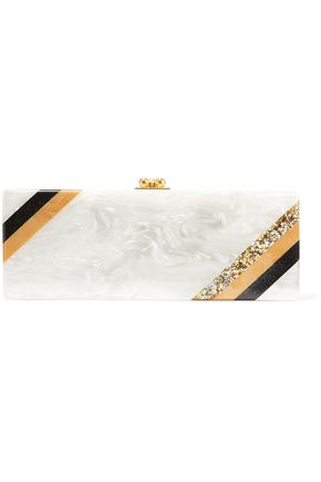 EDIE PARKER Flavia striped glittered acrylic clutch