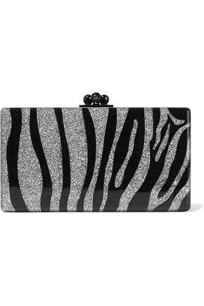 EDIE PARKER Jean Zebra glittered acrylic box clutch