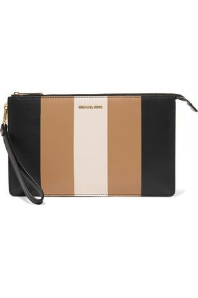 MICHAEL MICHAEL KORS Striped leather clutch