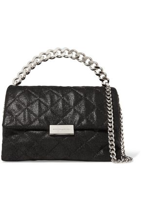 STELLA McCARTNEY Chain-trimmed faux textured leather shoulder bag