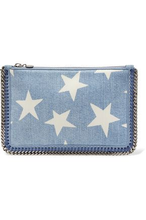STELLA McCARTNEY Chain-trimmed printed denim clutch