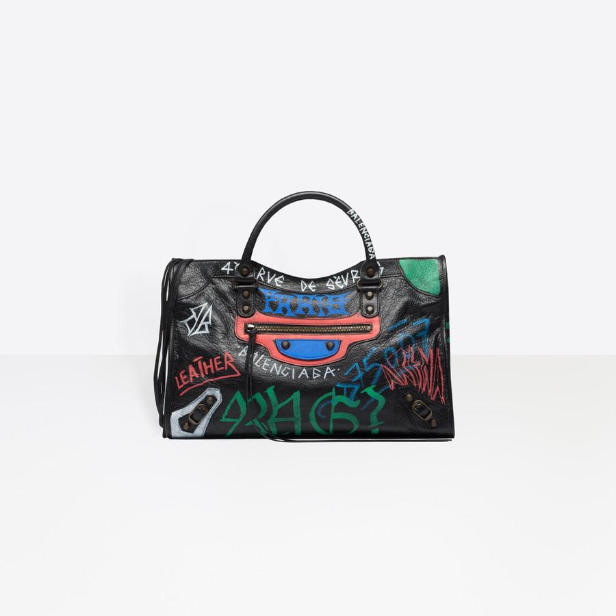 BALENCIAGA Classic City Graffiti Long Strap Seasonal Handbag Woman f