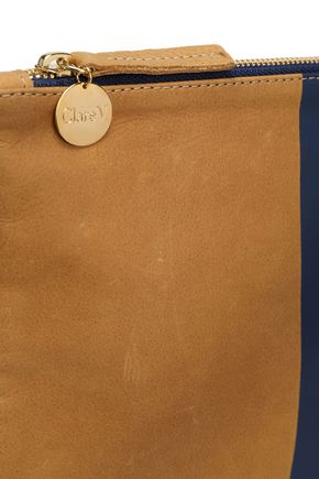 CLARE V. Two-tone painted leather pouch