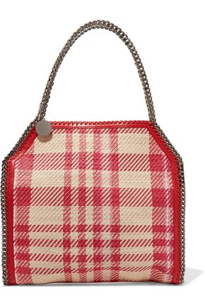 STELLA McCARTNEY Falabella checked woven faux-leather tote