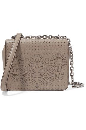 TORY BURCH Chain-trimmed laser-cut leather sholder bag