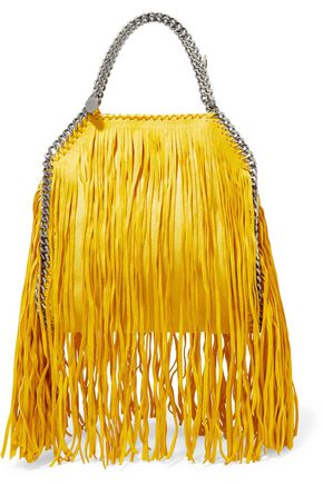 STELLA McCARTNEY Mini fringed faux brushed-leather tote