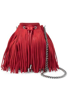 STELLA McCARTNEY Fringed faux suede and leather bucket bag
