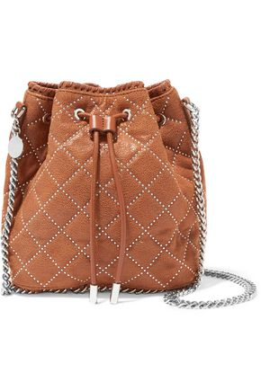 STELLA McCARTNEY Embellished quilted chain-trimmed faux-suede shoulder bag