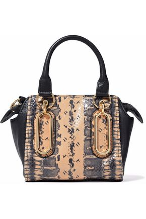 SEE BY CHLOÉ Paige paneled snake-effect leather shoulder bag