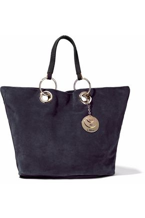 SEE BY CHLOÉ Embellished leather-trimmed suede tote