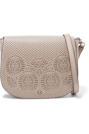 TORY BURCH Laser-cut leather shoulder bag