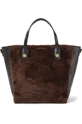 SANDRO Paris Leather-paneled shearling tote