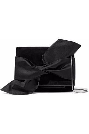 VICTORIA BECKHAM Satin bow-embellished suede clutch