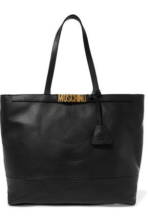 MOSCHINO Embellished pebbled-leather tote