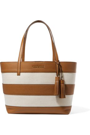 MICHAEL MICHAEL KORS Striped leather and canvas tote