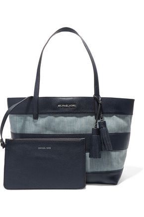 MICHAEL MICHAEL KORS Striped leather and denim tote