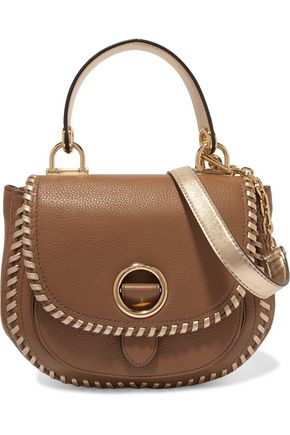 MICHAEL MICHAEL KORS Metallic leather-trimmed textured-leather shoulder bag