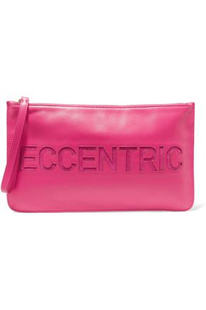REDValentino Cutout suede-paneled leather clutch