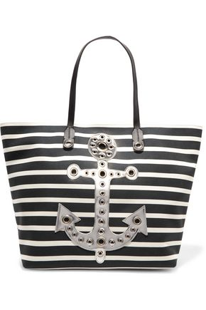 REDValentino Embellished striped canvas tote