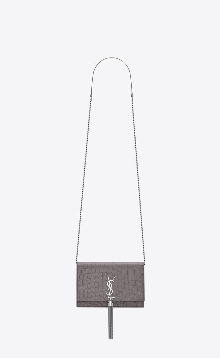 550af80b07a6 Saint Laurent Kate Chain Wallet With Tassel In Crocodile Embossed ...
