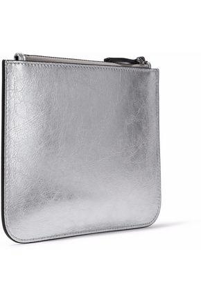 IRIS & INK Blake metallic cracked-leather pouch