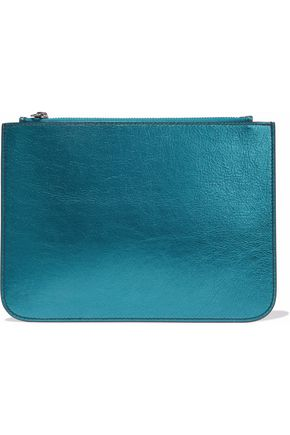 IRIS & INK Blake metallic textured-leather pouch