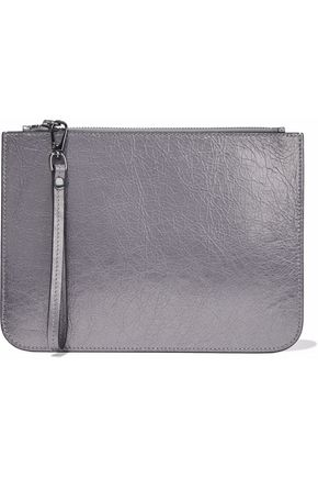 IRIS & INK Metallic cracked-leather pouch