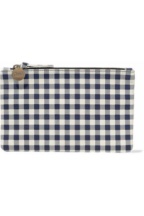 CLARE V. Gingham leather pouch