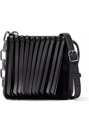 ALEXANDER WANG Fringe-trimmed leather and suede shoulder bag