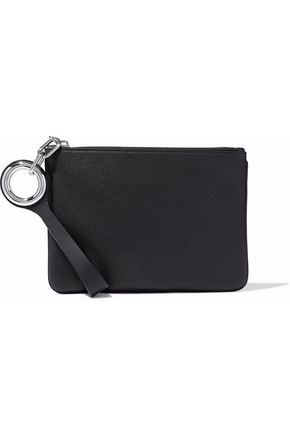 ALEXANDER WANG Eyelet-embellished pebbled leather pouch
