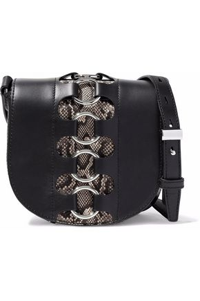 ALEXANDER WANG Ring-embellished snake effect-paneled leather shoulder bag