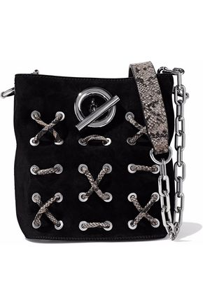 ALEXANDER WANG Snake-effect leather-trimmed suede shoulder bag