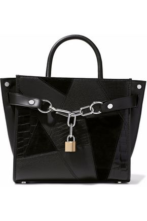ALEXANDER WANG Embellished textured-leather and suede  tote