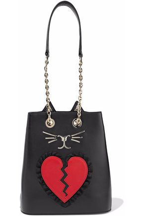 CHARLOTTE OLYMPIA Broken Heart Feline appliquéd leather bucket bag