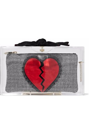 CHARLOTTE OLYMPIA Appliquéd houndstooth and acrylic box clutch