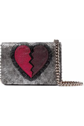 CHARLOTTE OLYMPIA Appliquéd metallic ostritch-effect leather shoulder bag