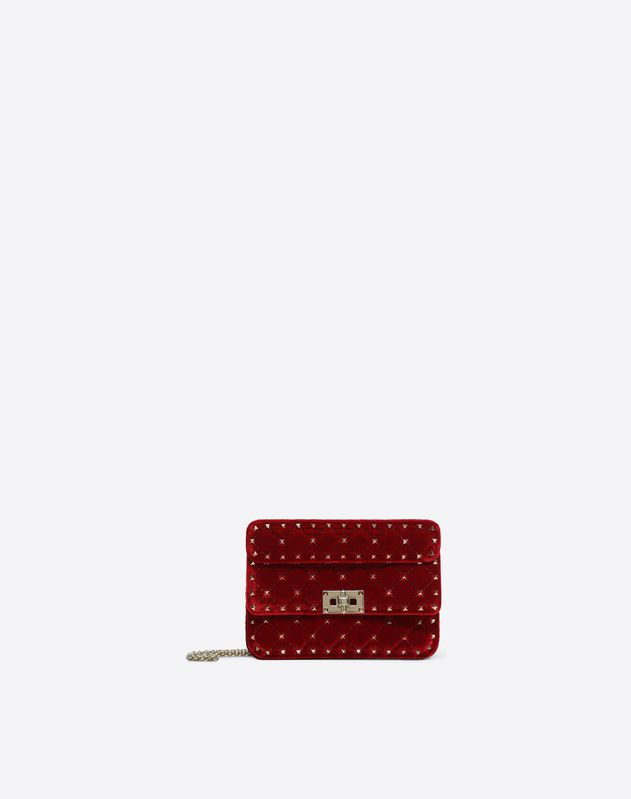 5c8effe54f9 Small Velvet Rockstud Spike Bag for Woman | Valentino Online Boutique