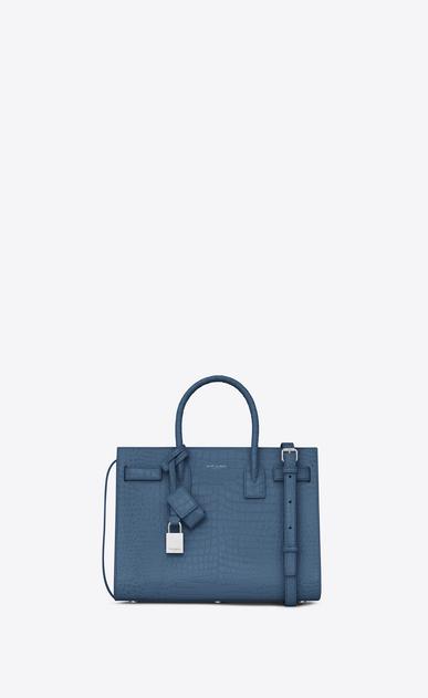 SAINT LAURENT Baby Sac de Jour D classic Baby SAC DE JOUR Bag in denim blue Crocodile Embossed Shiny Leather a_V4