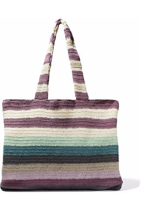 MARA HOFFMAN Striped crocheted cotton tote