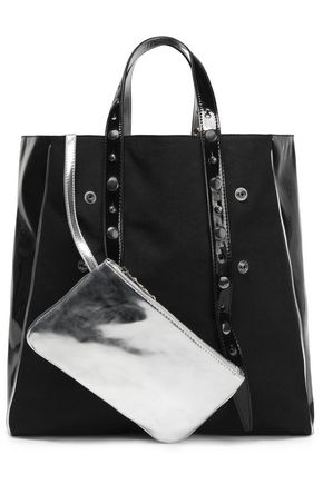 MM6 MAISON MARGIELA Paneled canvas and faux patent-leather tote