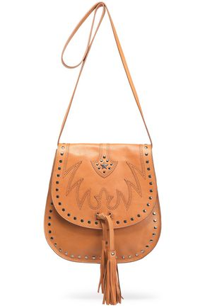 JUST CAVALLI Embellished embroidered leather shoulder bag