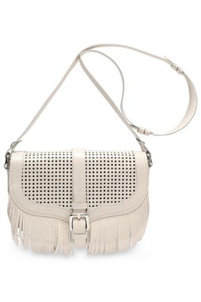 JUST CAVALLI Fringed laser-cut leather shoulder bag