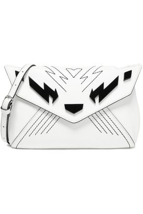 JUST CAVALLI Appliquéd embroidered leather shoulder bag