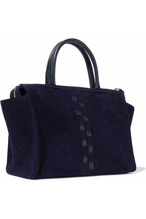 CLARE V. Petite Sandrine woven leather-trimmed suede shoulder bag